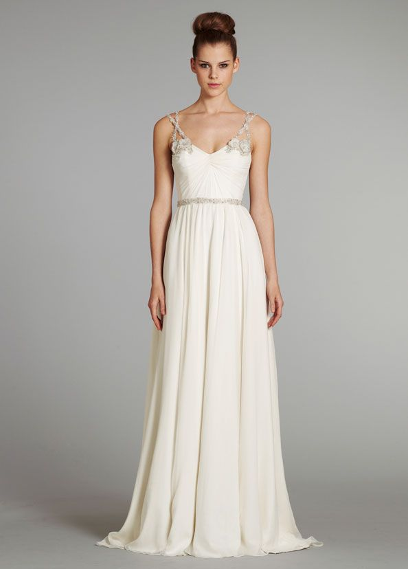 ... georgette Grecian draped bridal gown with crystal floral beaded straps  and crisscross tulle detailing at center back with chapel train. Hayley  Paige 2053ac0a9290