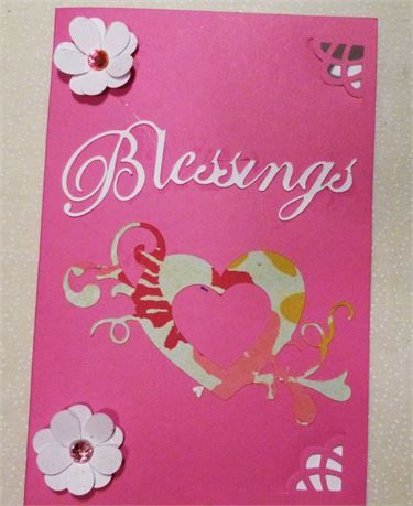 Blessings greeting card white on hot pink made in the usa click this is a blessings card and it comes with an envelope and will be in a clear plastic sleeve m4hsunfo
