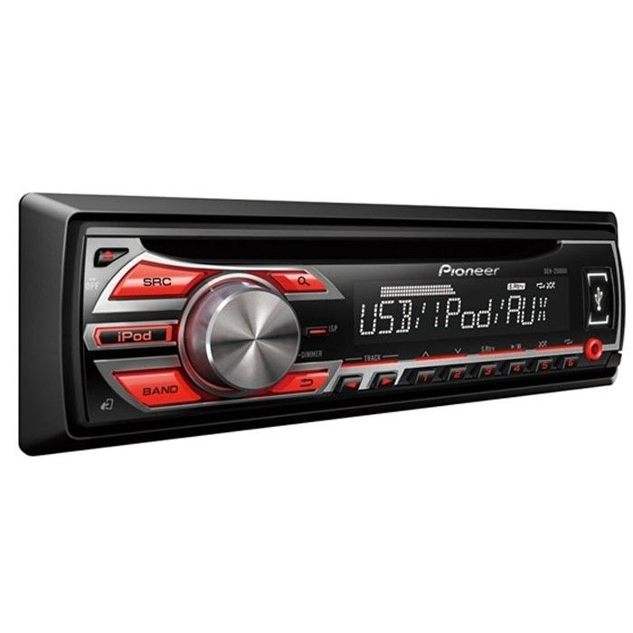 Pioneer DEH-1500UB CD/MP3 Car stereo system, Android ready, Red