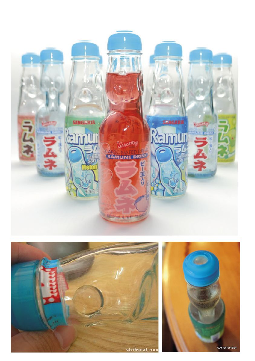 Japanese Soda Ramune Marble Soda Ramune Is Widely Known For The Distinctive Design Of Its Bottle They Are Made Of Glass And Sea Bottle Drinks Water Bottle