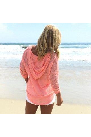 Coral tee shirt material drawstring hoodie | USTrendy