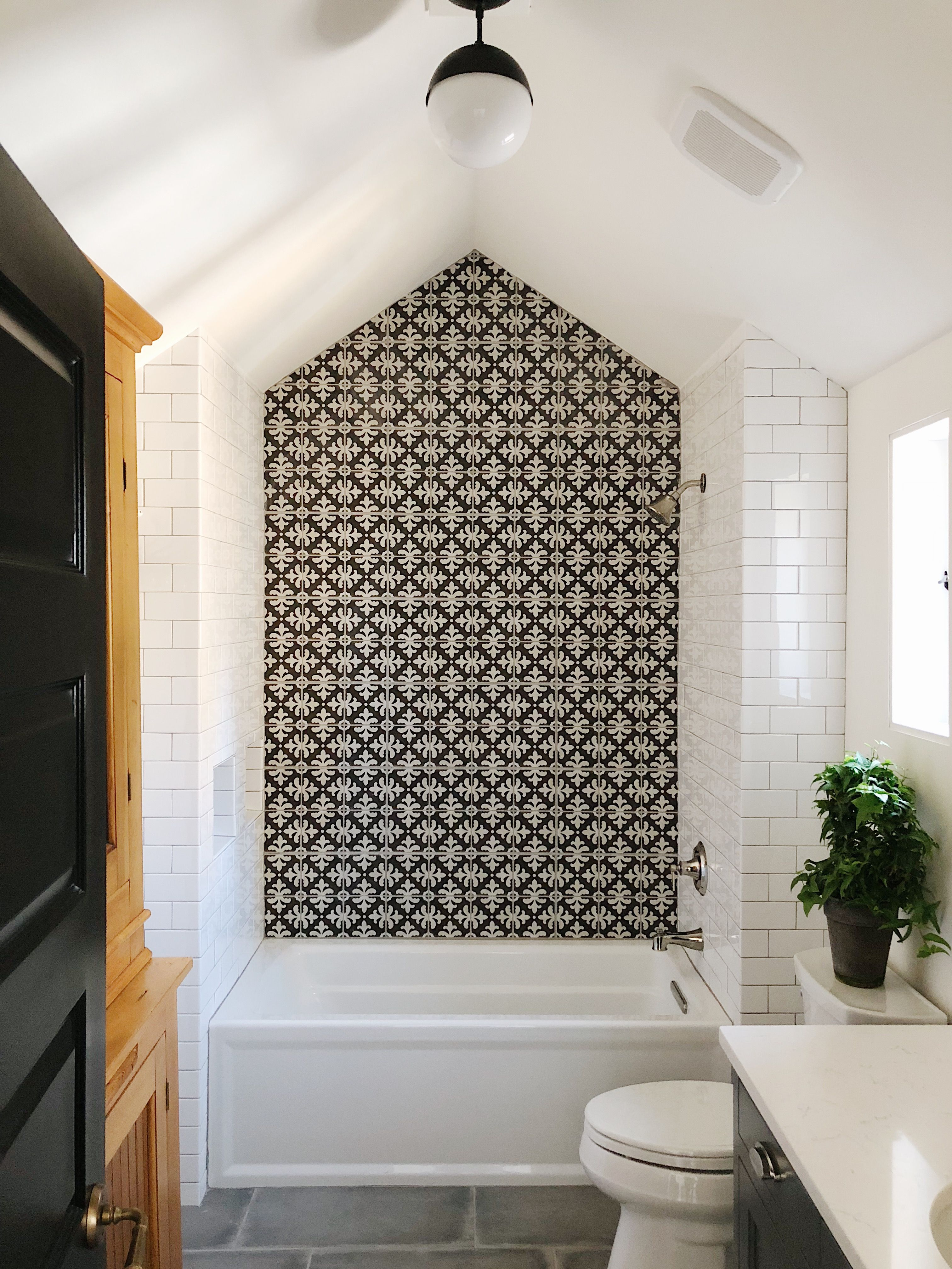 Instead Of Black And White Accent Wall Could Continue With Subway Tiles Farmhouse Shower Bathroom Tile Designs White Subway Tile Bathroom