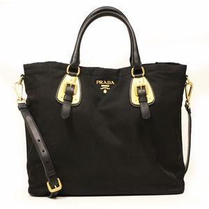 1c0cea2d51a9 Prada BN1902 Nero Tessuto Black Nylon Convertible Shopping Tote Bag ...