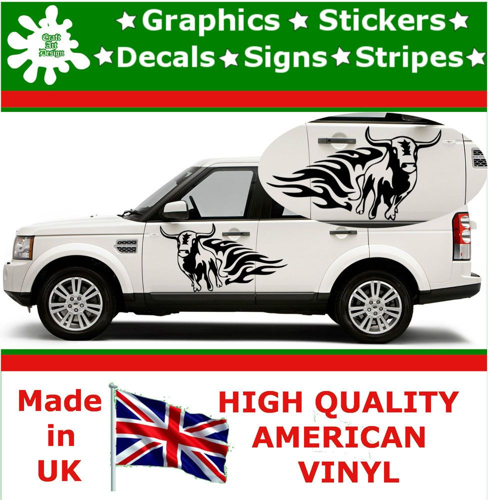 Car side body sticker design - 2 X Large Car Side Crazy Bull Flame Graphic Decals Vinyl Sticker Wall Van 57 In Vehicle Parts Accessories Car Tuning Styling Body Exterior Styling
