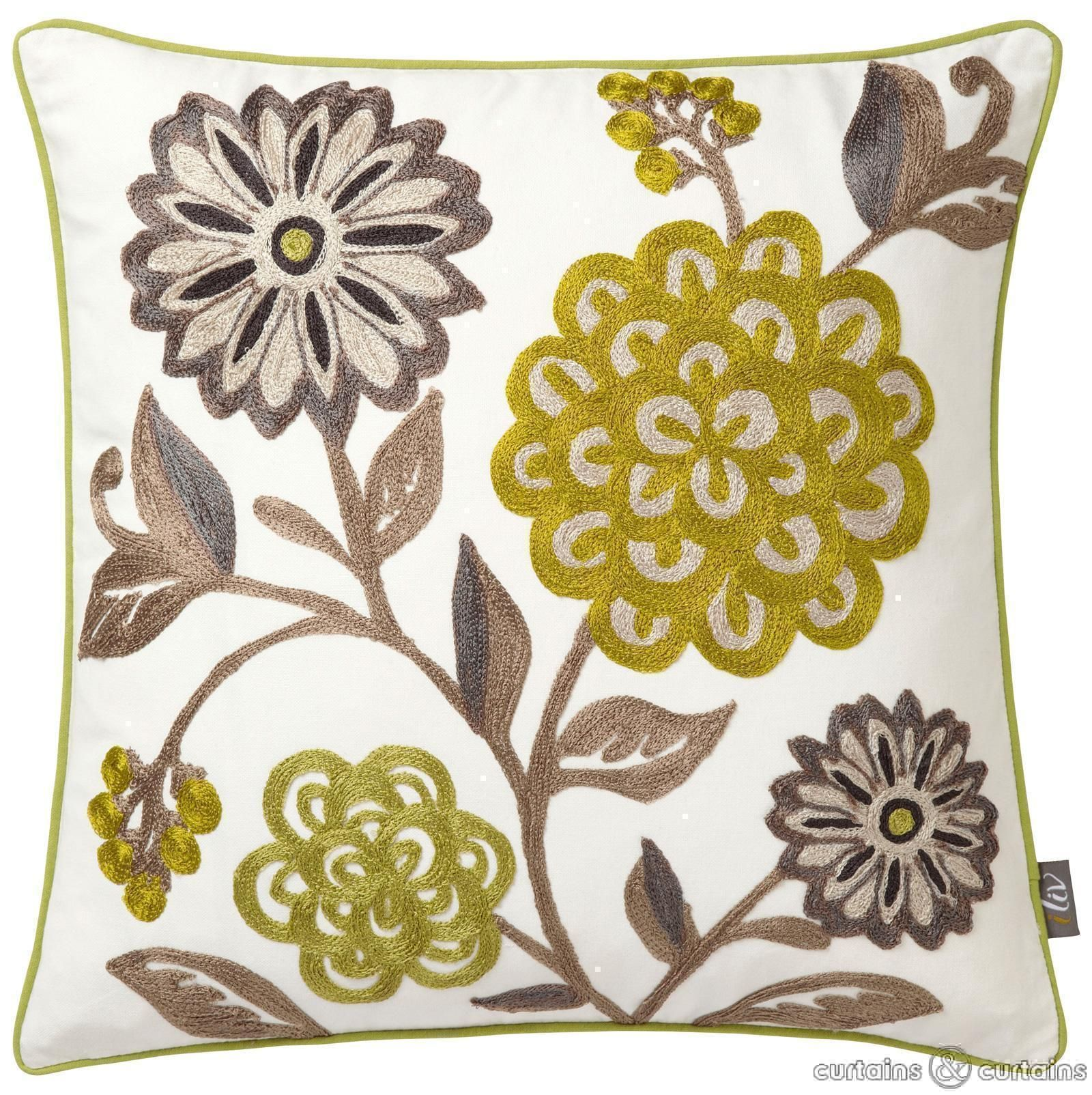 Floral wonders embroidered cushion in woodland