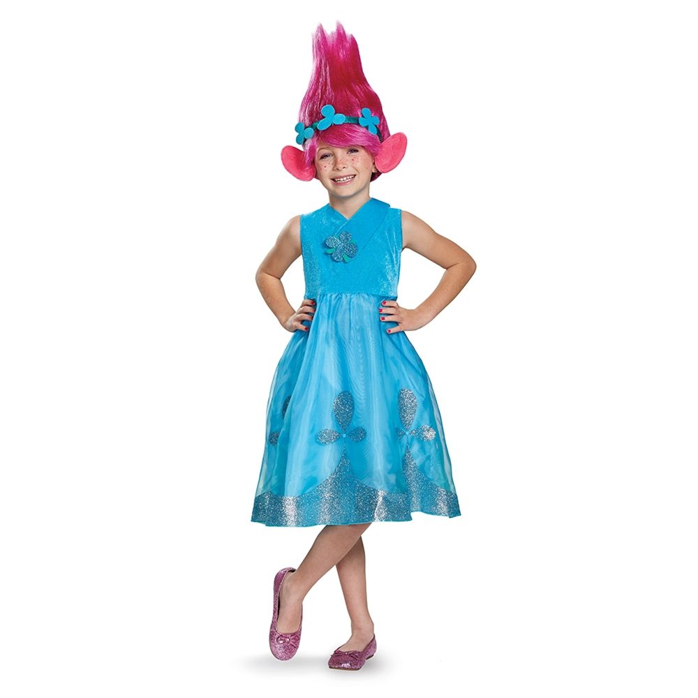 Kid Girl Trolls Poppy Fancy Dress Costume /& Wig Hair Child Cosplay Party Clothes