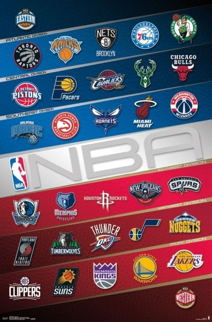 Nba Logos 16 Poster Print By 22 X 34 Item Tiarp15067 Nba Basketball Nba Logo Nba Basketball Teams