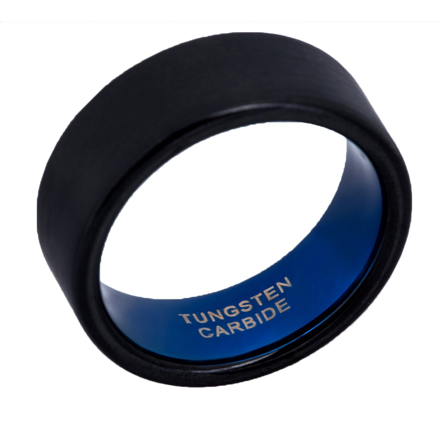 Mens Wedding Bands Two Tone Black Blue Tungsten Rings 8mm Flat