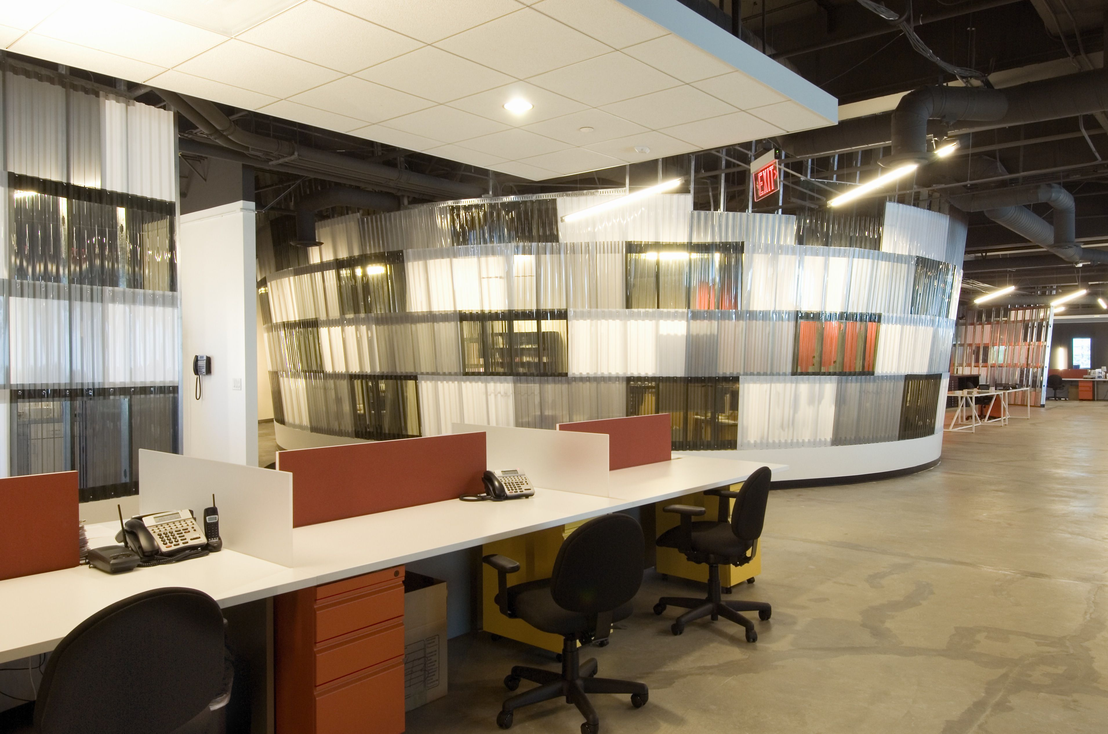 large office space. #Modern #workstations For A Large #office Space With #geometric Designs #dtank Office