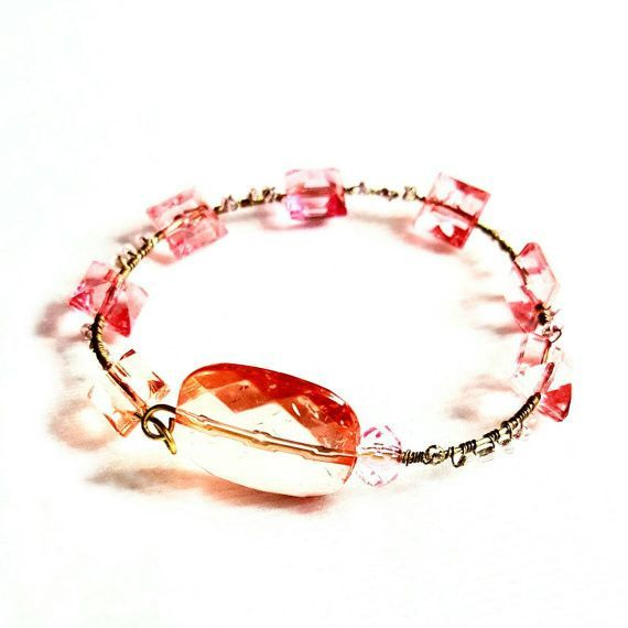 Bracelet -Pink and Gold Beaded Wire - The Hearts of Women are Gentle