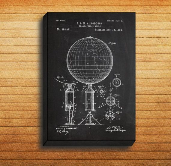 CANVAS - Geographic Globe Patent, World Globe Poster, Globe - new blueprint software ios