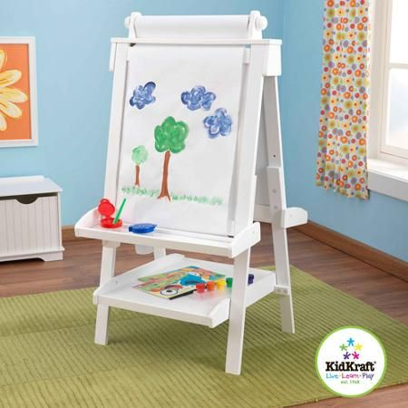 kidkraft deluxe wood easel white with a paper roll anti spill