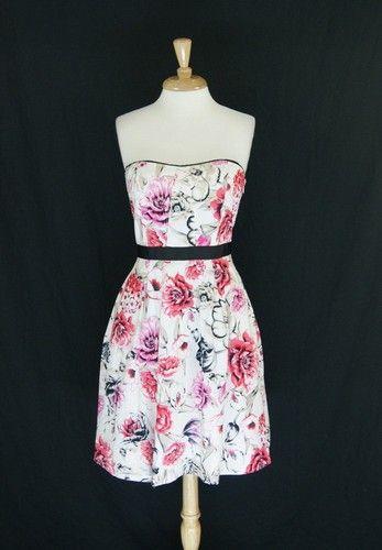White House Black Market White Pink Floral Strapless Dress Size 6