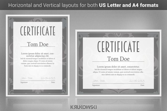 Solid Certificate Template by Krukowski Graphics on @creativemarket