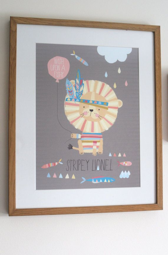 Personalised Little Lion Nursery/ Childrens Print  by Nikkipea, $23.00