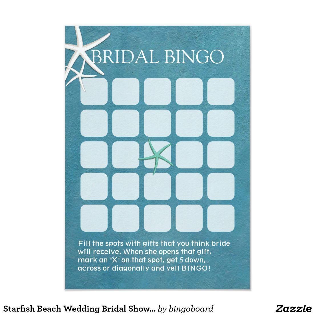 Starfish poem card - Starfish Beach Wedding Bridal Shower Bingo Cards