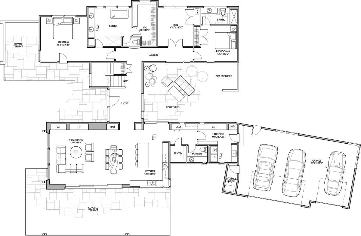 House Plan 5829 00021 Mid Century Modern Plan 3 345 Square Feet 4 Bedrooms 3 5 Bathrooms In 2021 Modern Style House Plans Two Story House Plans House Floor Plans