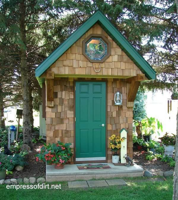 Tiny but tall shed with green door and trip from the Gallery of best garden sheds and decor DIY ideas