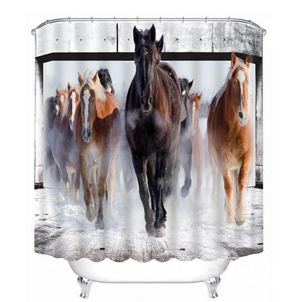 A Group Horses Running Print 3D Bathroom Shower Curtain #bath #shower #curtain
