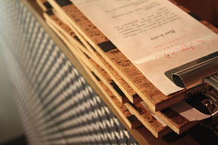 Wood clip restaurant menu