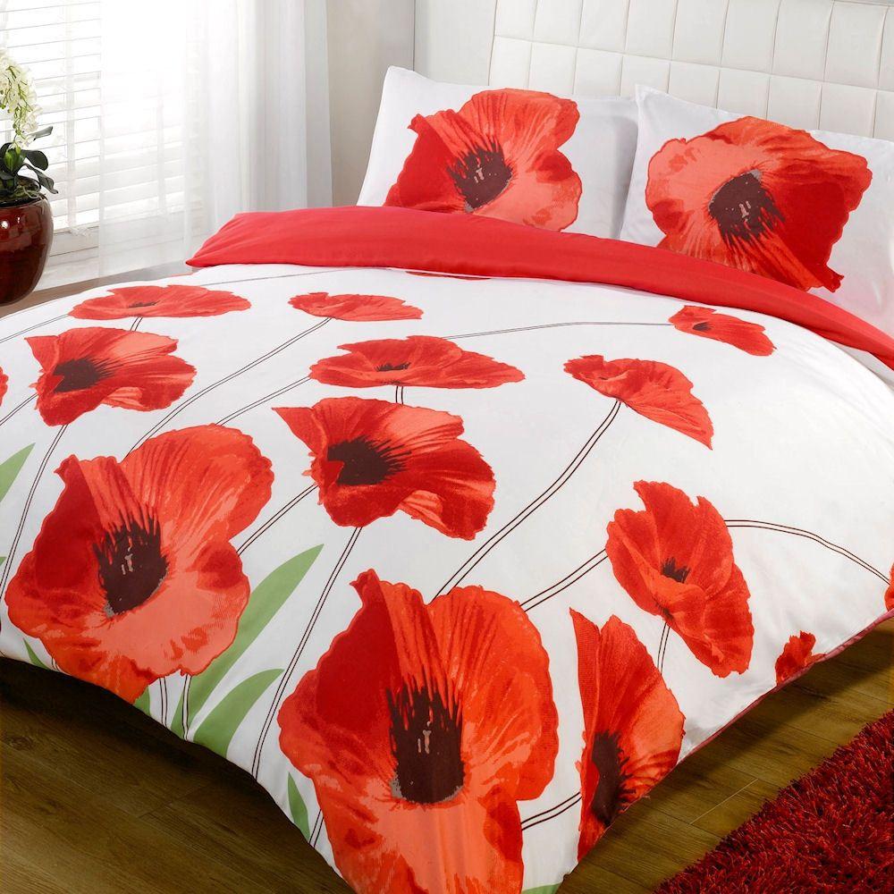 Amapola Red White Poppy Floral Bold Print Duvet Quilt Cover