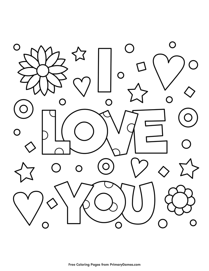 Valentine 39 s Day Coloring Pages eBook I Love You