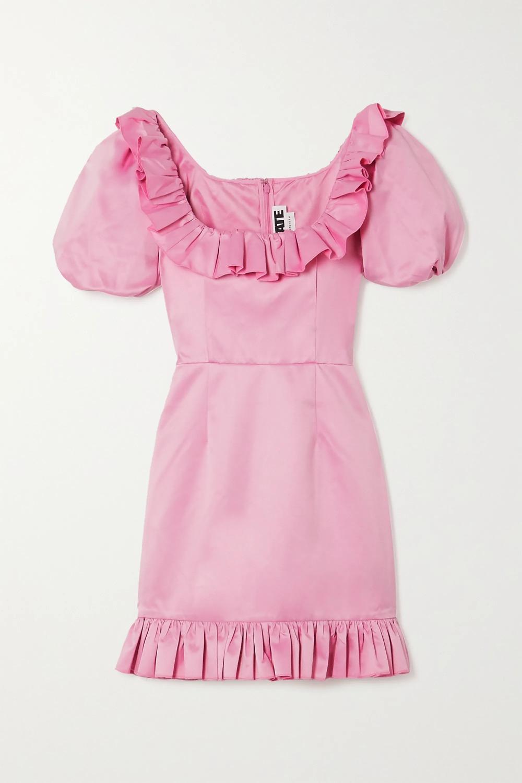 Ghita ruffled duchesse-satin mini dress