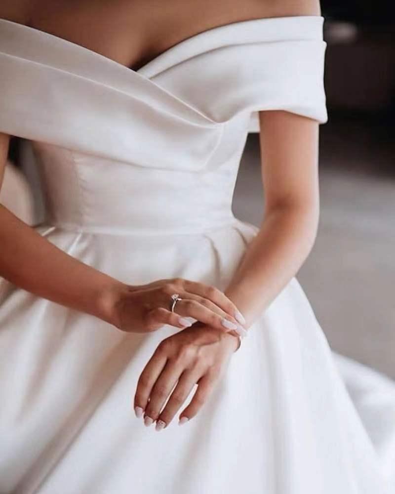 Off Shoulder Short Sleeve Pleating Elegant Plain White Satin Wedding Dress Bridal Gown Buy Wedding In 2020 Ball Gowns Wedding Wedding Dresses Ball Gown Wedding Dress