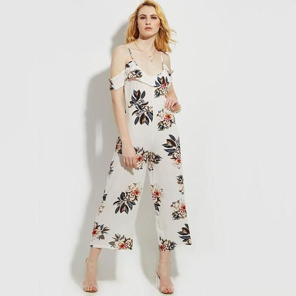 Vintacy Jumpsuit Romper for Women 2017 White Floral Print Ruffles Spaghetti  Strap Cold Shoulder Jumpsuit Long Sexy Jumpsuits