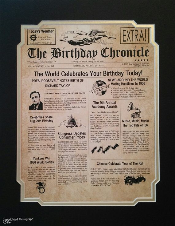 image regarding Free Printable Birthday Chronicle named 80th Birthday Present Custom made 11\