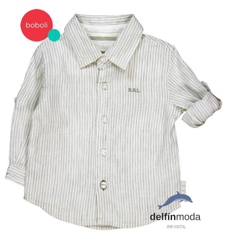 a86f6da713 Camisa para bebe de niño BOBOLI manga larga de lino