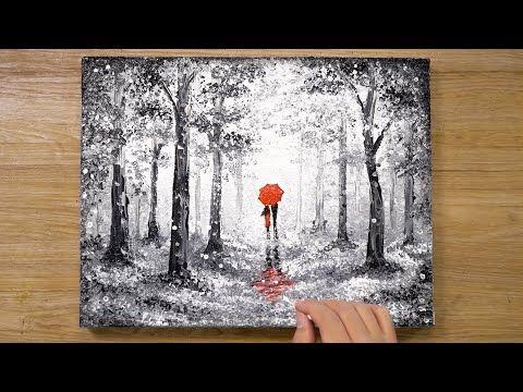 'Red Umbrella' Cotton Swabs Painting Technique #420