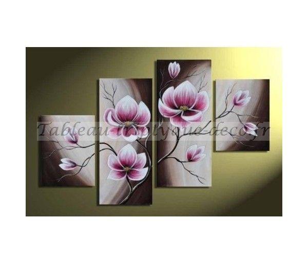 Tableau fleur tableau peinture fleur contemporain 4 - Tableaux tryptiques contemporains ...