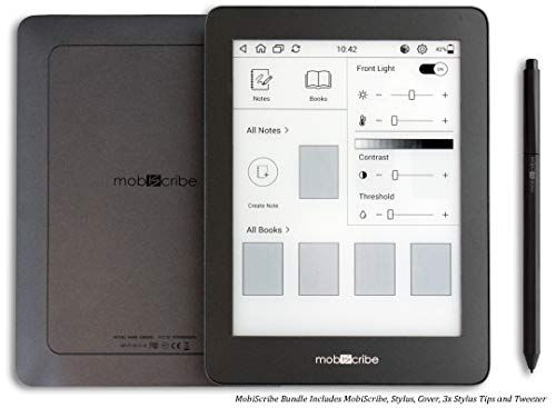 MobiScribe 6'8 E-Ink Tablet Bundle – 6.8 Digital Notepad, Anti Glare Screen, Touch Screen Display, Adjustable Built in Warm/Cold Light, Low Power Consumption, WiFi, Android