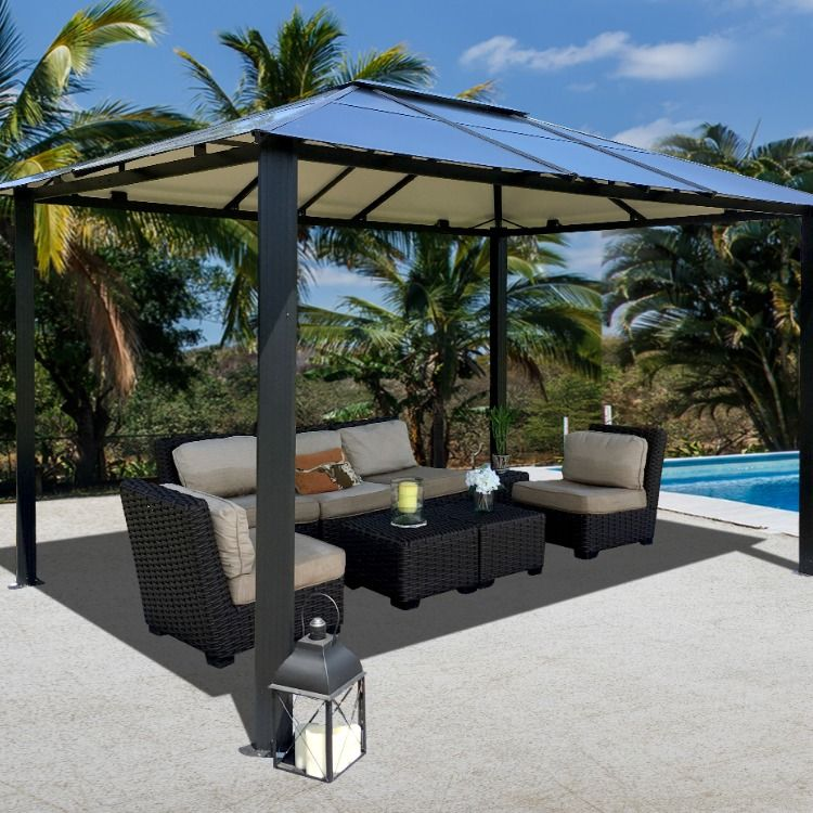 Paragon Outdoor Paragon Outdoor 11 Ft X 13 Ft Bermuda Hard Top Gazebo Gz3584 The Home Depot In 2020 Patio Outdoor Decor Backyard Structures