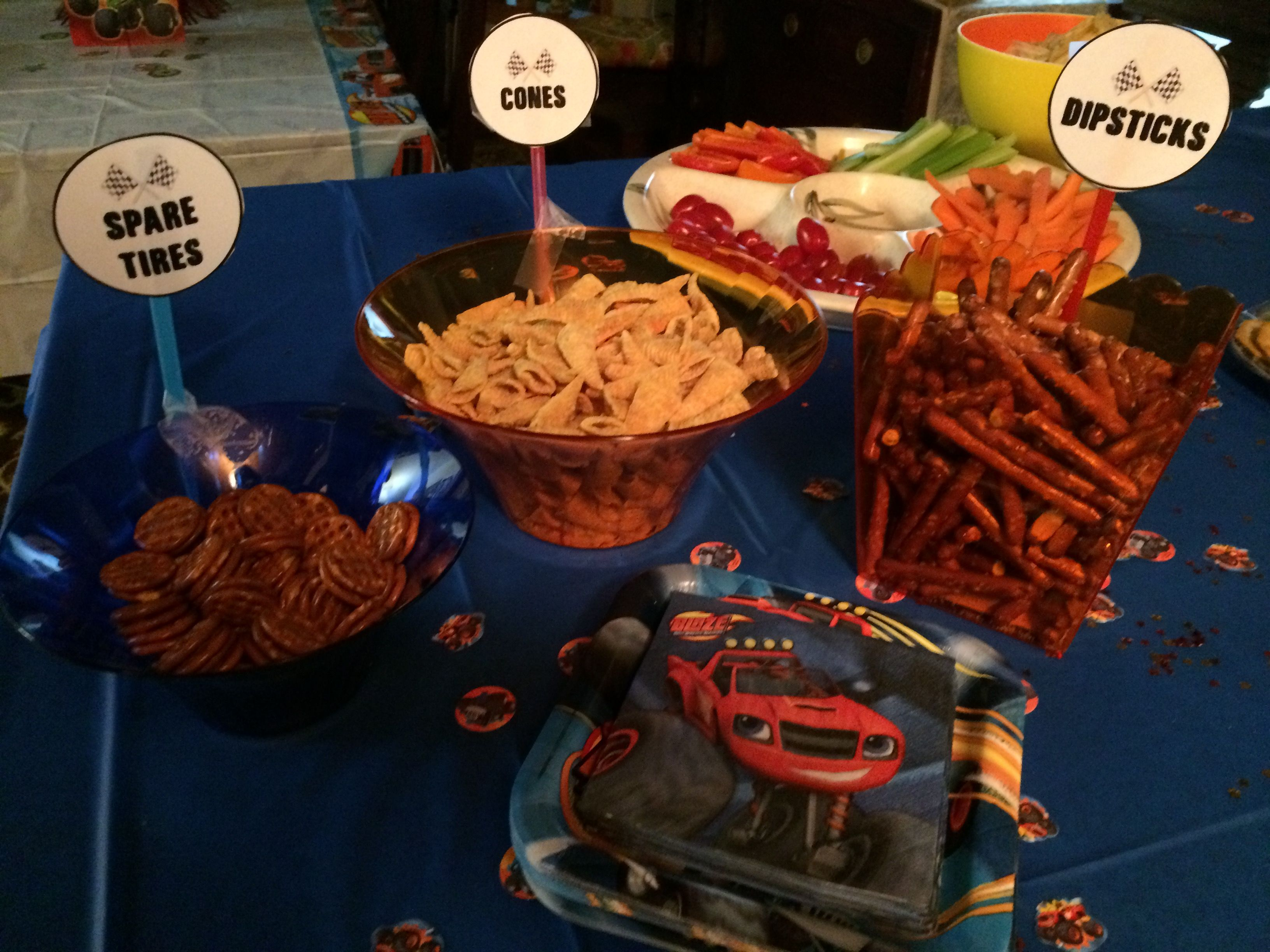 Photo Only   Snack Table Set Up. Snack Bowls And Plates And Napkins