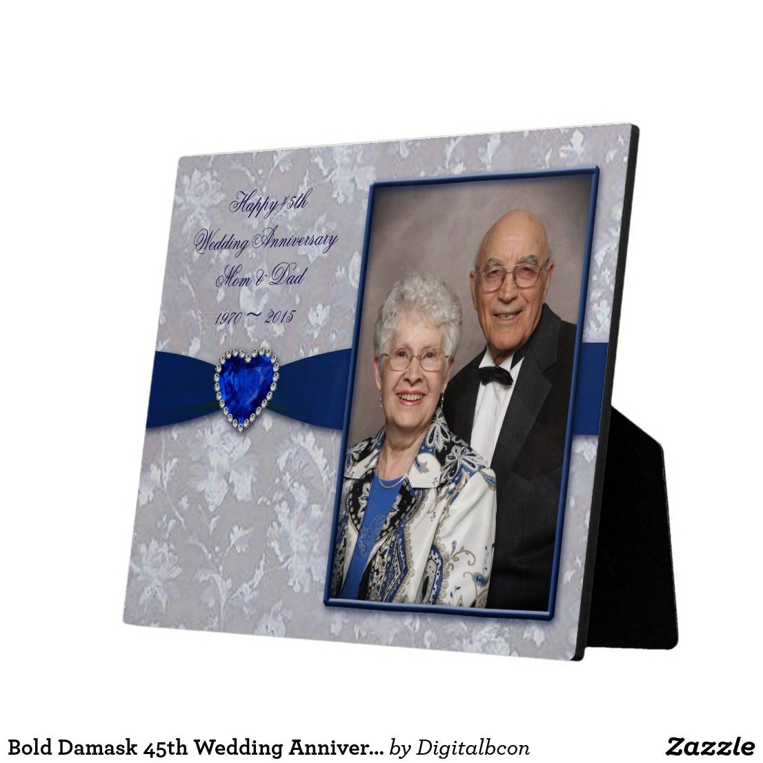 Bold damask 45th wedding anniversary photo plaque zazzle
