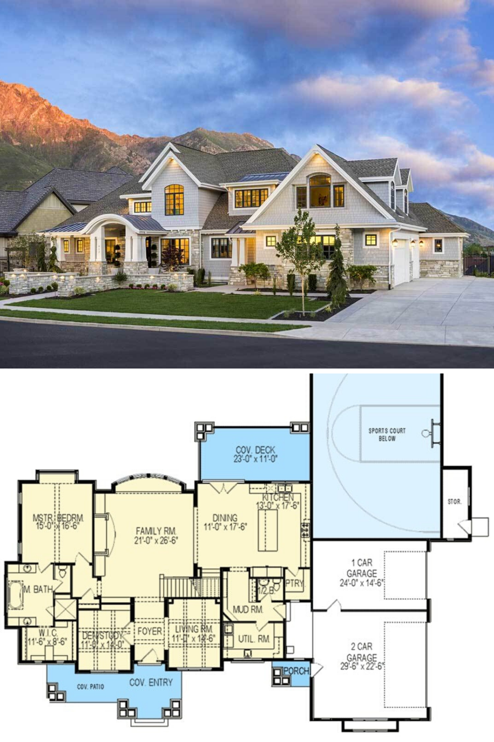 6 Bedroom Two Story Northwest Home With Sports Court Floor Plan In 2020 Craftsman House Plans 4000 Sq Ft House Plans House Plans Farmhouse