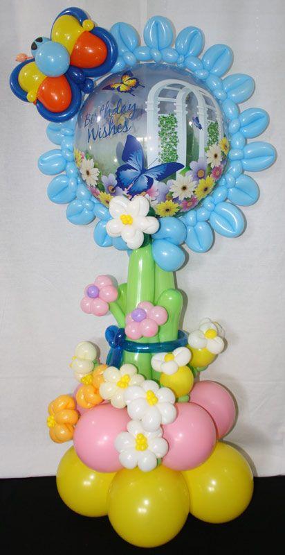 Butterfly Mylar Balloon Pillar Decoracionconglobos Pinterest - imagenes de decoracion con globos