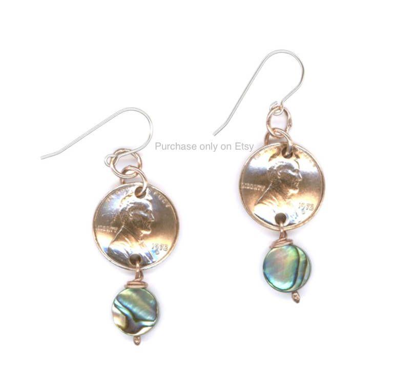 45th birthday gift women 1974 penny earrings jewelry paua