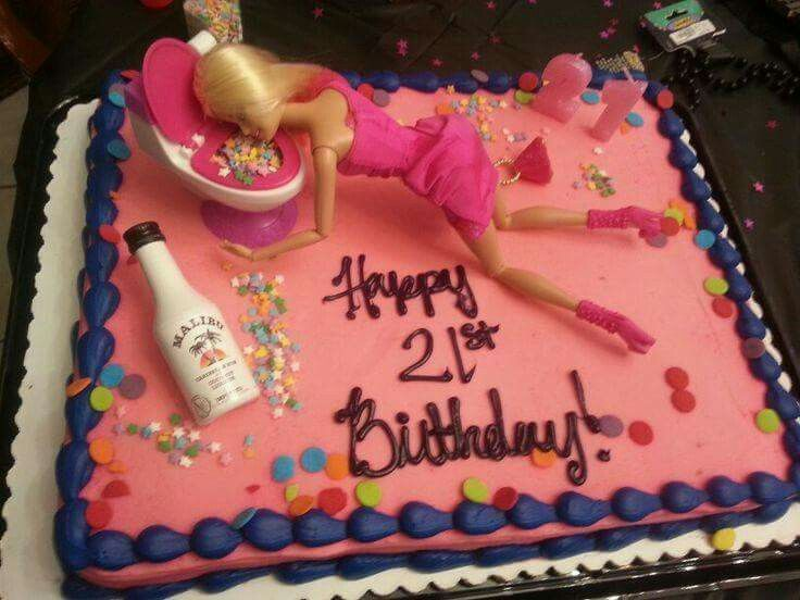 Puking Barbie With Images 21st Birthday Cakes Barbie Birthday