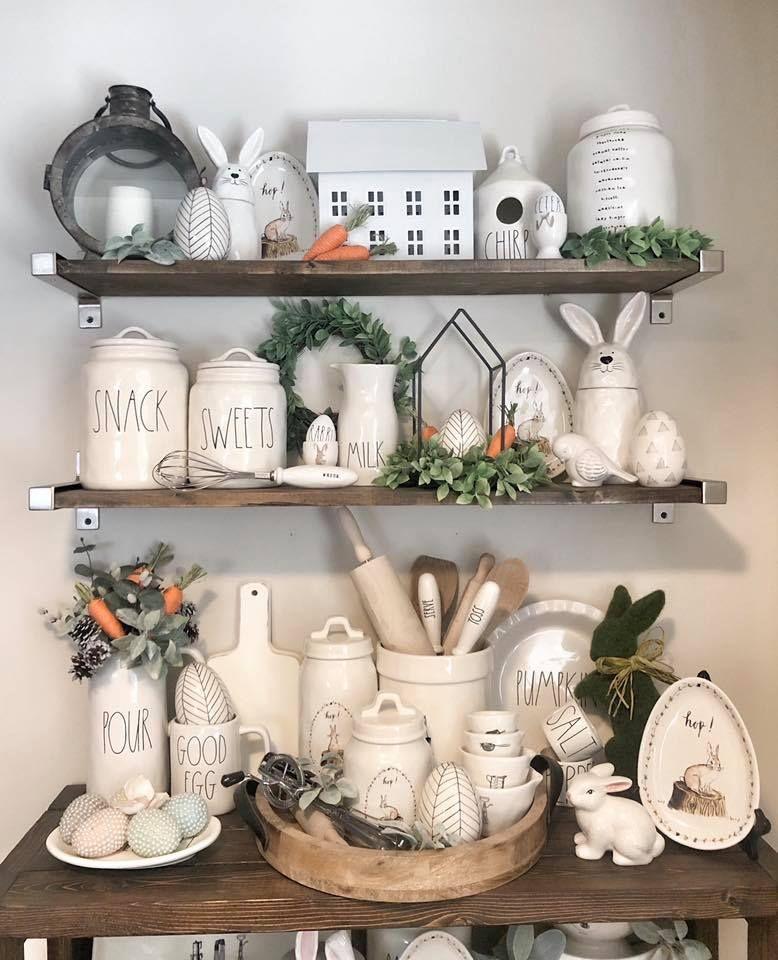 Pin By Rima Zavala On Rae Dunn Spring Easter Decor Decor Kitchen Shelf Decor