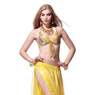 Lantejoulas Dancewear e Crystal com borlas barriga Tops dança para senhoras mais cores – BRL R$ 48,13
