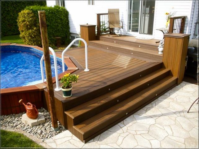 Amazing Above Ground Pool Deck And Patio Ideas; Above Ground Pool Deck Attached Tou2026