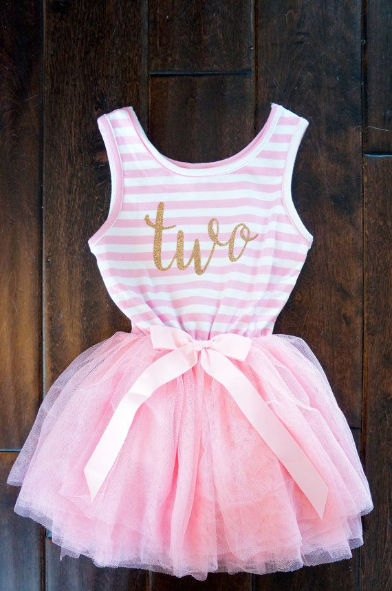 Second Birthday outfit girl, 2nd Birthday Dress, Pink and gold ...