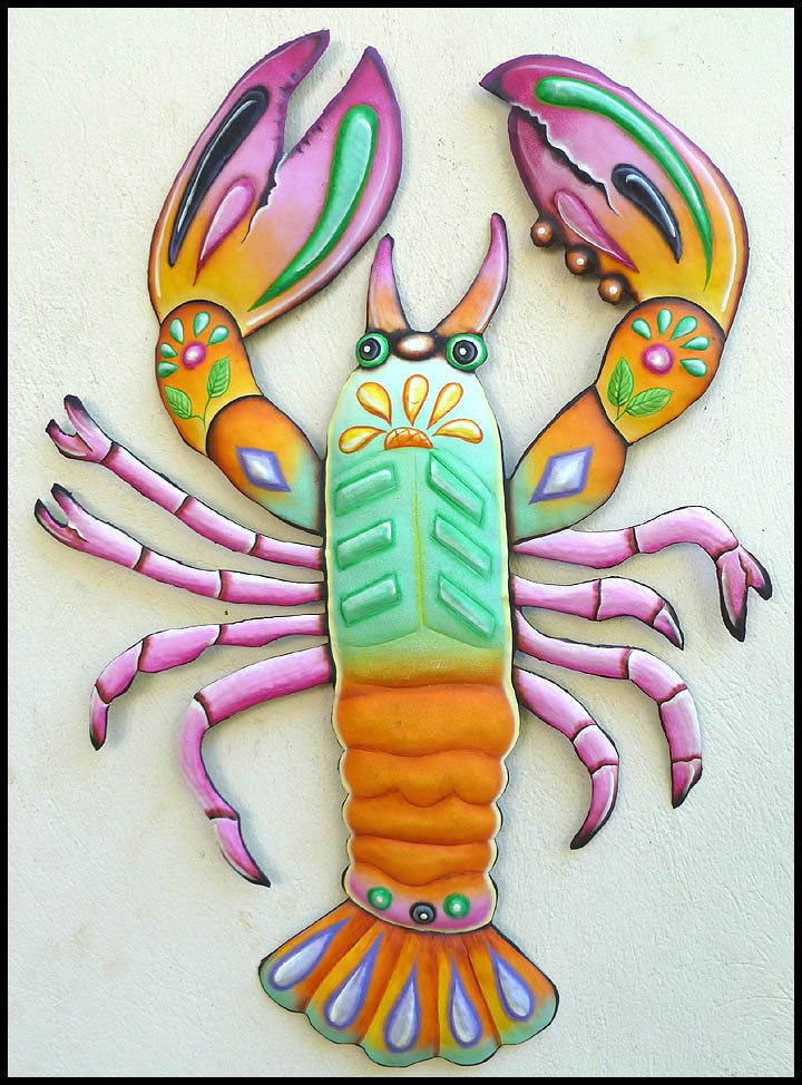 Painted Metal Lobster Wall Hanging Funky Art Nautical Design Haitian Garden Patio Decor J 936 Gl By Tropicaccents On Etsy