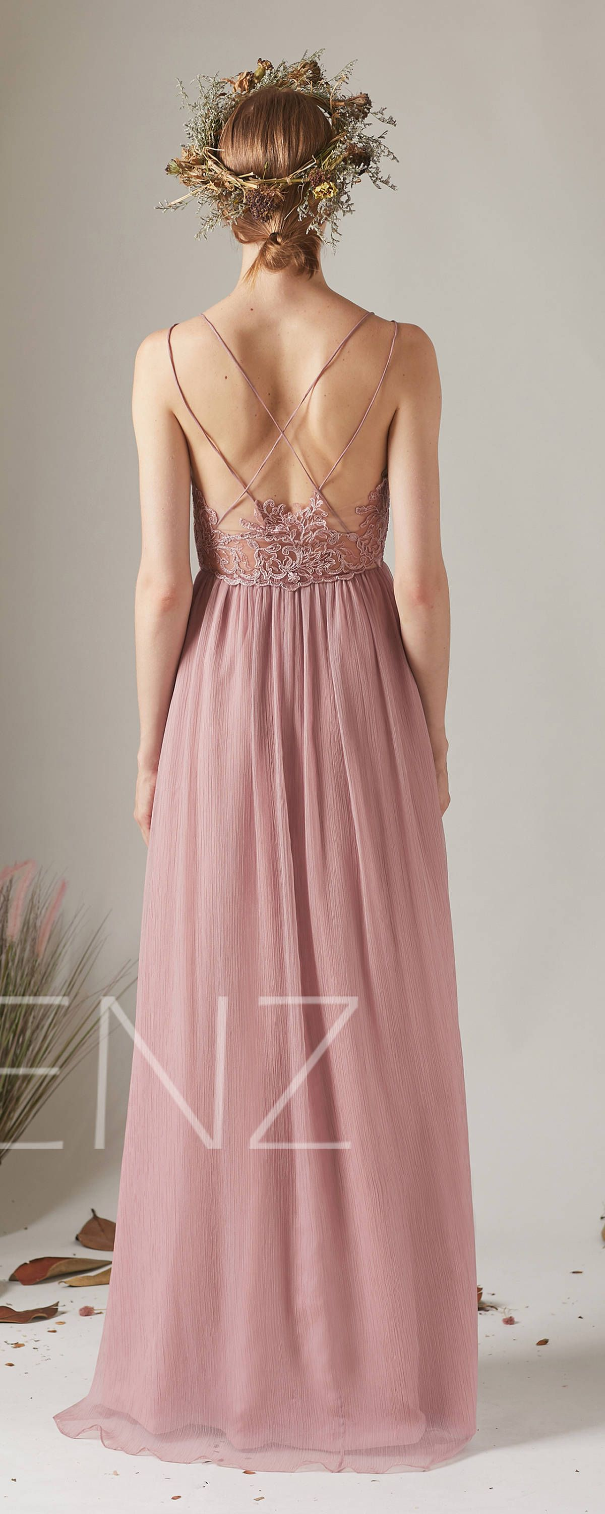 Bridesmaid Dress Dusty Rose Boho Wedding Dress Empire Waist