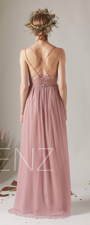 Bridesmaid Dress Dusty Rose Boho Wedding Dress Empire Waist Chiffon Prom Dress Long H497a Altrosa Brautjungfernkleider Kleid Altrosa Kleid Hochzeit Gast
