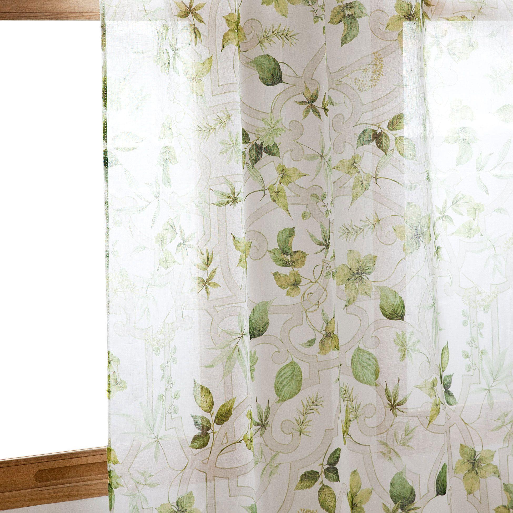 Cortina estampado vegetal cama nueva coleccion zara for Cortinas espana