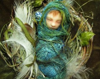 swansong-willows: (via Fairy Baby on Nest Hand-sculpted